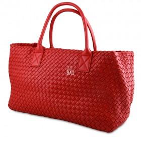 Сумка Bottega Veneta Cabat Intrecciato Nappa Tote Bag Red